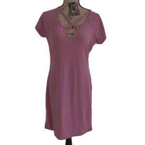 XL Derek Heart sporty stripe mauve pink knit dress